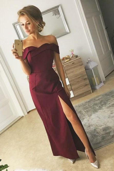 Off the Shoulder High Split Long Burgundy Prom Dresses Evening Party Gowns SH8808