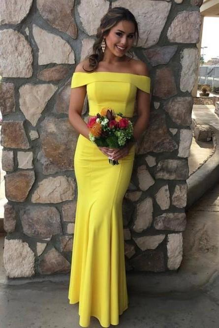 Off the Shoulder Sexy Long Yellow Prom Dresses Evening Party Gowns SH8809