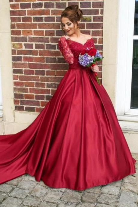 Sexy V neckline Long Sleeves Red Lace Prom Dresses Evening Gowns with Detachable Train SH8811