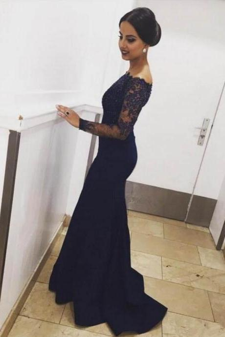 Off the Shoulder Navy Blue Long Sleeves Mermaid Lace Prom Dresses Evening Gowns SH8815