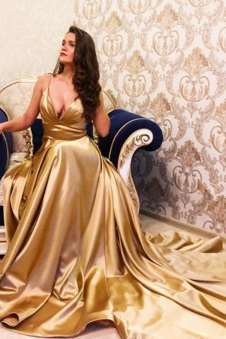 Spaghetti Strap V neckline Floor Length Long Gold Prom Dresses Eveving Gowns SH8812