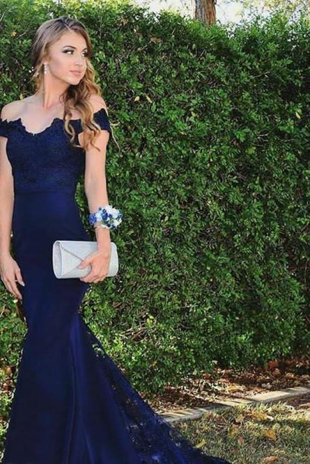 Sexy Lace Appliques Long Navy Blue Mermaid Prom Dresses Evening Gowns with Short Train SH8817