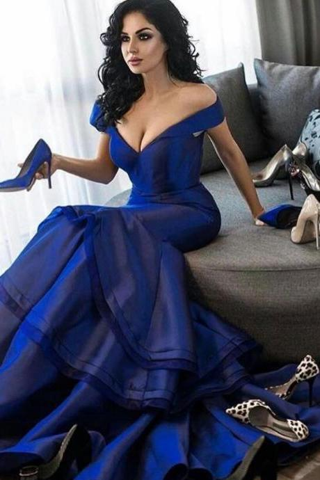 Off the Shoulder V neckline Sexy Royal Blue Mermaid Prom Dresses Evening Party Gowns SH8818