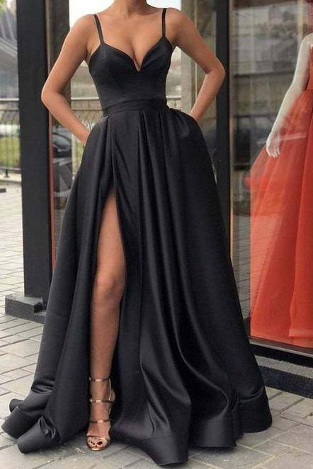Sexy Spaghetti Strap High Leg Split Long Black Prom Dresses Evening Gowns SH8820