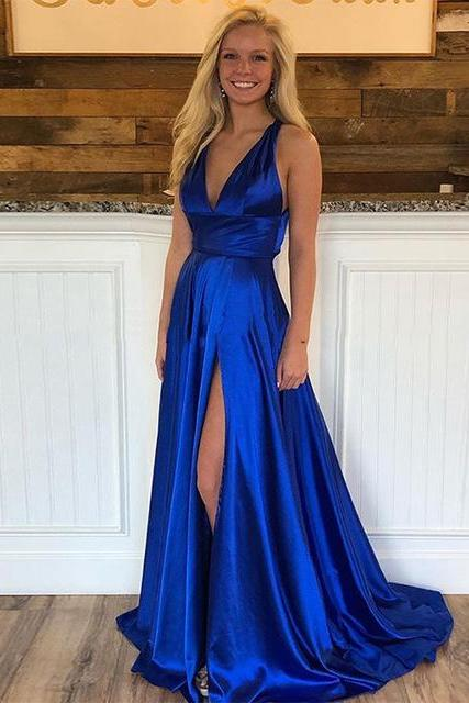 Deep V neckline Long Royal Blue Prom Dresses High Split Sexy Evening Party Gown SH8822