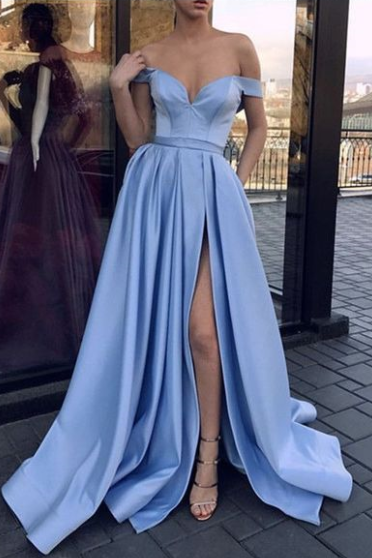 High Split Light Blue Prom Dresses Formal Evening Party Gown Off Shoulder SH8823