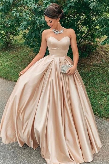 Sweetheart Sleeveless Floor length Long Champagne Prom Dresses Formal Evening Events Gowns SH8825