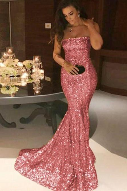 Strapless Floor Length Sexy Long Rose Pink Mermaid Sequined Prom Dresses Evening Gowns SH8829