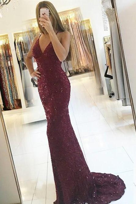 Backless Halter Long Mermaid Prom Dresses Burgundy Sequined Evening Gown SH8832