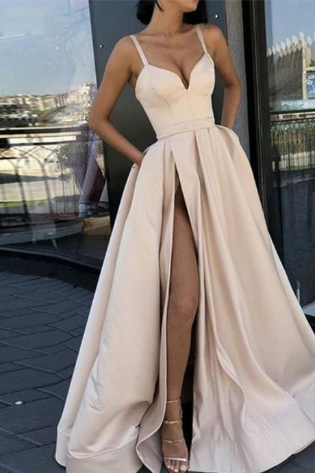 Sexy Spaghetti Strap High Leg Split Long Champagne Prom Dresses Evening Gowns SH8833