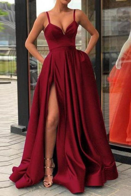 Sexy Split Long Burgundy Evening Dresses Prom Gowns with Pockets SH8838